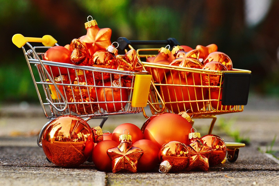 Shopping Di Natale, Carrelli, Christbaumkugeln, Natale